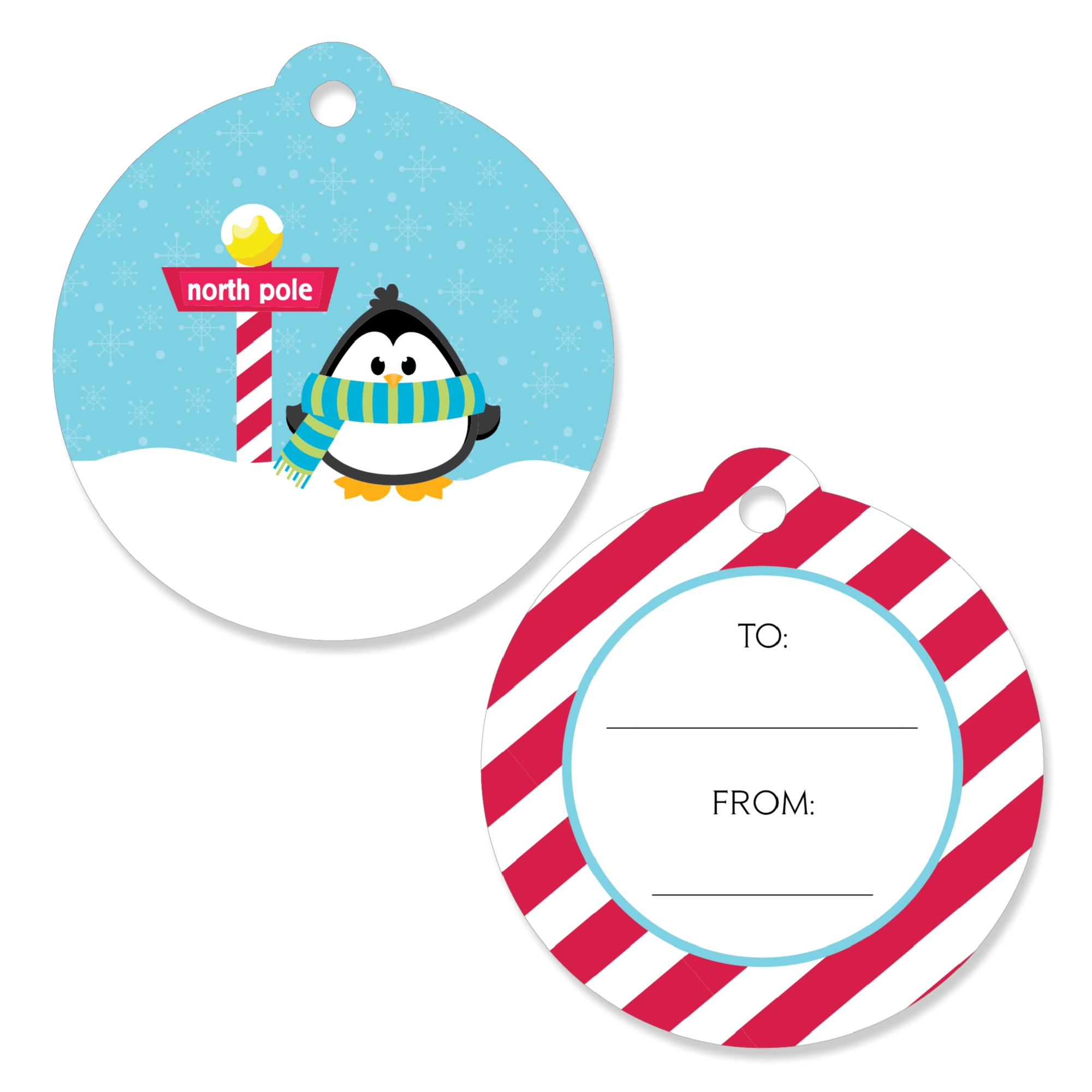 Holly Jolly Penguin - Holiday & Christmas Favor Gift Tags - Set of 20