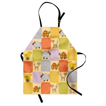 Tan Multi Color (Nursery Apron Toys and Animals in a Checkered Background Teddy Bears Sheep Cats Duck Toys, Unisex Kitchen Bib Apron with Adjustable Neck for Cooking Baking Gardening, Tan Multicolor, by Ambesonne)