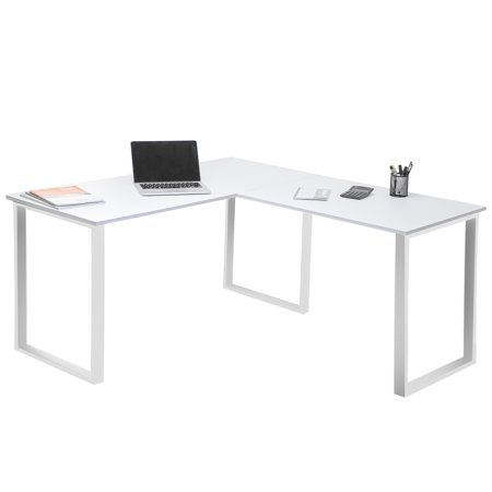 Modernluxe 59 L Shaped Desk With Metal Legs Office Corner Computer Pc