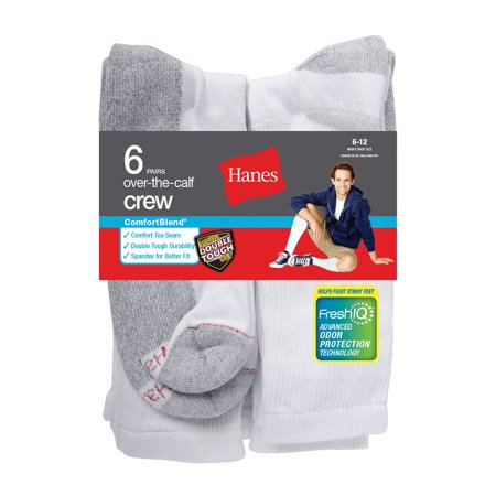 - Men's ComfortBlend Over the Calf Crew Socks 6-Pack