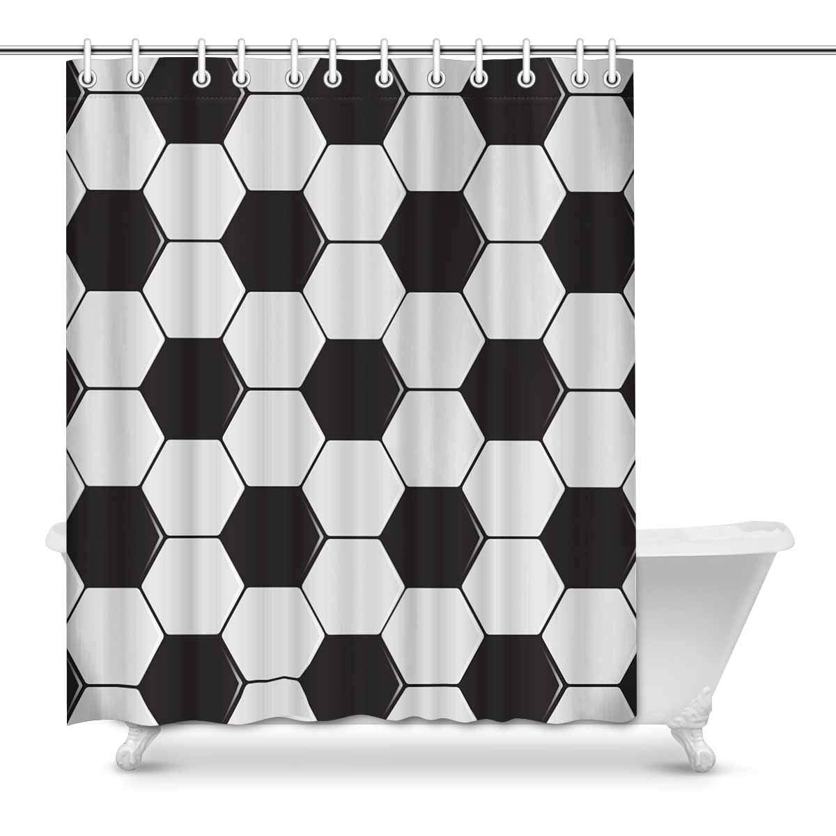 Mkhert Black White Soccer Ball Sports Decor Waterproof Polyester Bathroom Shower Curtain Bath Decorations Hooks 60x72 Inch Walmart Com