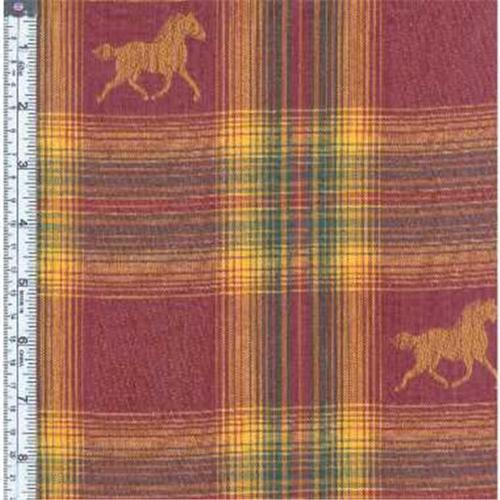 Textile Creations MT-163 Mustang Fabric, Horse Brown On Wine, Green Yellow Plaid, 15 yd.