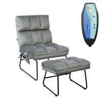 Gymax Electric Massage Chair Vibrating Velvet Sofa w/Ottoman and Remote Control (Gray) (GYM03782)