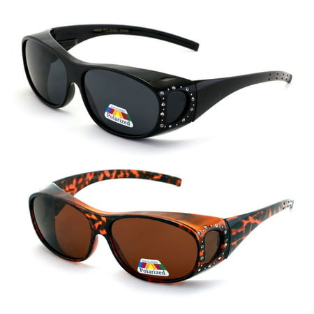 2 Pairs Womens Polarized Fit Over Glasses Sunglasses Rhinestone Rectangular Heart