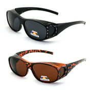 2 Pairs Womens Polarized Fit Over Glasses Sunglasses Rhinestone Rectangular Heart