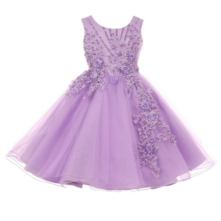 Little Girls Lavender Pearl Beaded Glitter Tulle Flower Girl Dress