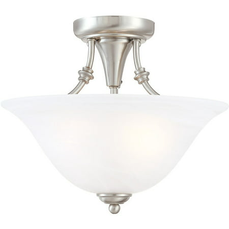 Hardware House 544676 Bristol 13-by-11-Inch 2-Light Semi-Flush Ceiling Fixture with Brushed-Nickel Finish and Alabaster-Glass
