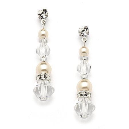 Mariell Handmade Ivory Glass Pearl & Crystal Dangle Earrings for Weddings, Brides, Bridesmaids or Prom Wedding Crystal Pearl