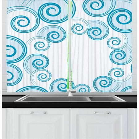 Teal and White Curtains 2 Panels Set, Ocean Waves Inspired Design with Abstract Blue Swirls Water Sea Spirals, Window Drapes for Living Room Bedroom, 55W X 39L Inches, Blue White, by Ambesonne