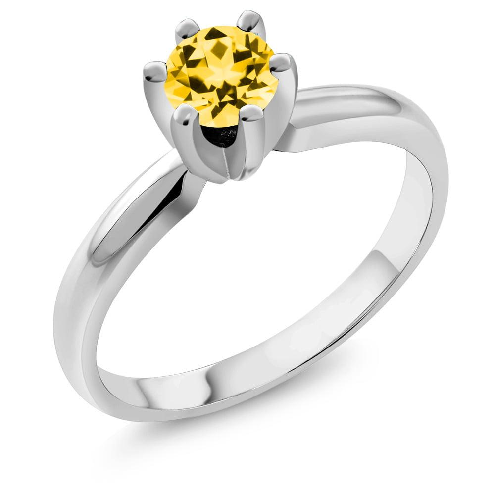 14K White Gold Ring Set with Round Honey Topaz from Swarovski