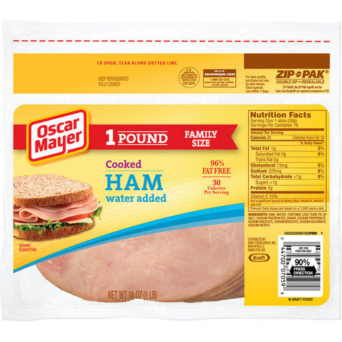Oscar Mayer Sliced Cooked Ham, 16 oz