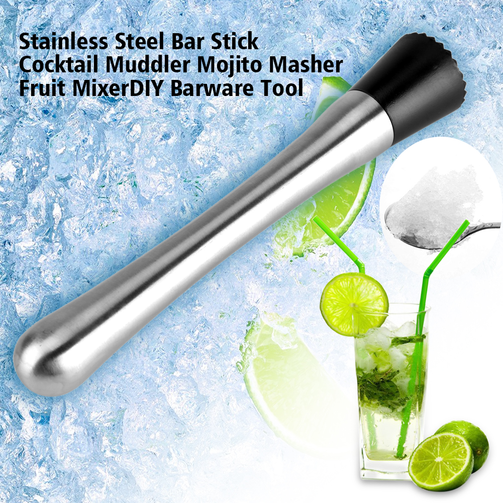 Yosoo Cocktail Muddler,Stainless Steel Bar Stick Cocktail Muddler Mojito Masher Fruit Mixer DIY Barware Tool,Mojito Muddler