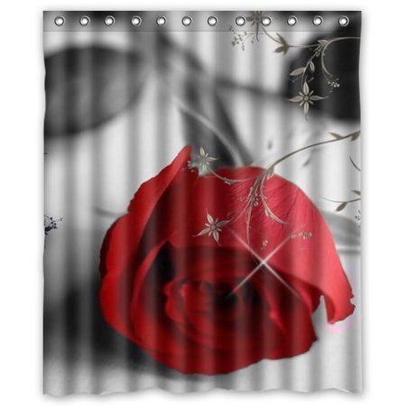 GreenDecor Happy Shopping Go Red Dangerous Rose Waterproof Shower Curtain Set with Hooks Bathroom Accessories Size 60x72 inches ()