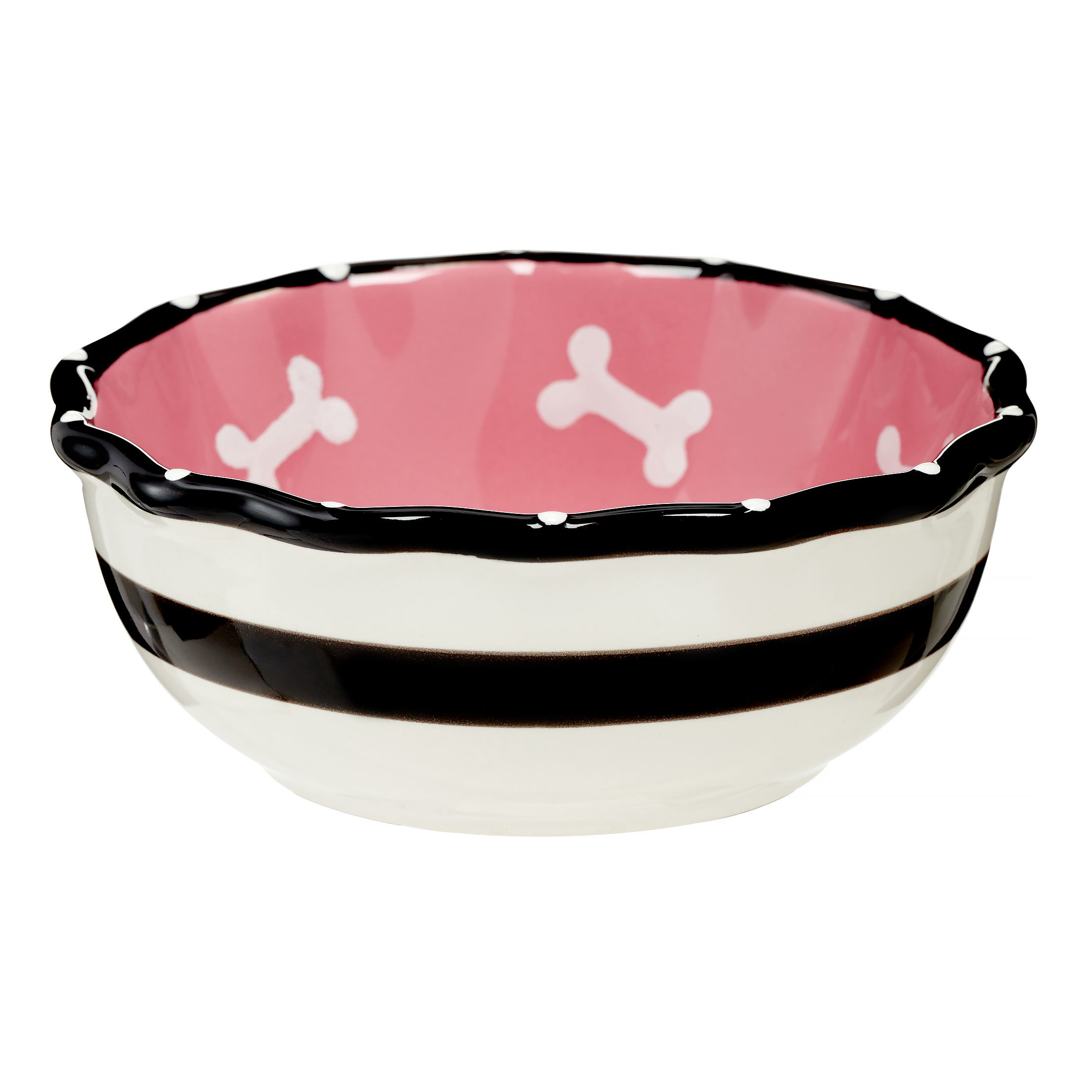 Contemporary Ruffle Dish for Dogs, 5-Inch, Pink Multi-Colored