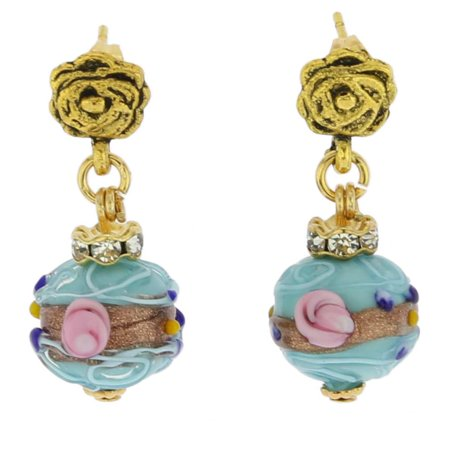 GlassOfVenice Murano Glass Magnifica Antique Stud Balls Earrings - Aqua