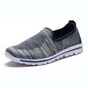 Cross Trainer Shoes Women's Sneakerss Perforated Lightweight Slip On Sneaker Shoes Fit-88l Gray Navy Mesh 8.5
