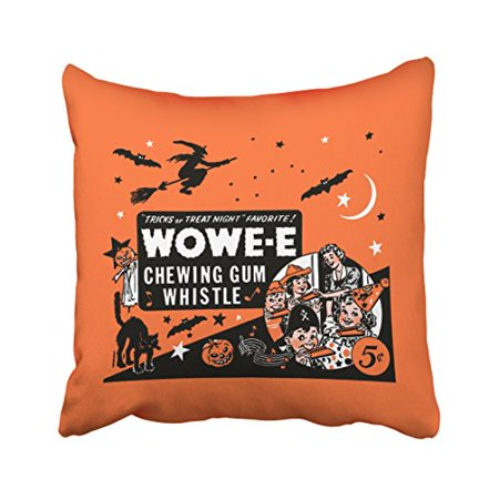 WinHome Vintage Wowee Chewing Gum Halloween Whistle Wowe Throw Pillow Covers Cushion Cover Case 18x18 Inches Pillowcases Two Side](Outdoor Halloween Pillows)