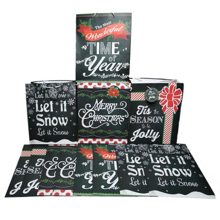 Large Christmas Chalkboard Style Gift - Large Plastic Christmas Bags