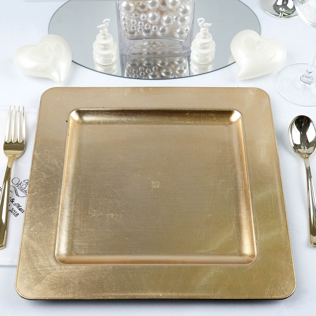 """Efavormart 6pcs 11.5"""" x 11.5"""" Square Rimmed Charger Plates Dinner Chargers for Tabletop Decor Holiday Wedding Catering Decoration"""