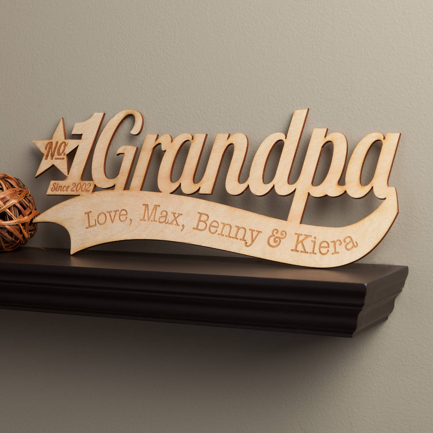 Number One Grandpa Personalized Wood Plaque