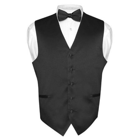 Men's Dress Vest & BowTie Solid BLACK Color Bow Tie Set for Suit or Tuxedo - Vest Bow Tie