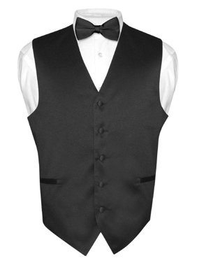 8b9741af81be Free shipping. Product Image Men's Dress Vest & BowTie Solid BLACK Color  Bow Tie Set for Suit or Tuxedo