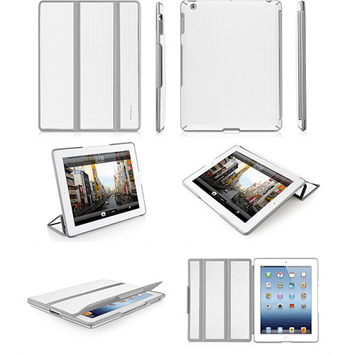 NEW MACALLY WHITE GRAY BOOKSTANDBW RUGGED CASE COVER STAND FOR APPLE iPAD 2 3 4