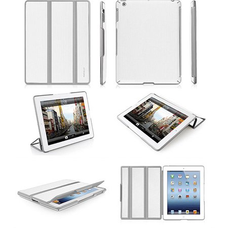 Macally BookStand3 BW Hardshell Flexible Case for the new iPad - White/Gray