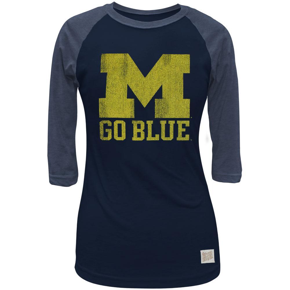 Michigan Wolverines - Go Blue Juniors 3/4 Sleeve Raglan