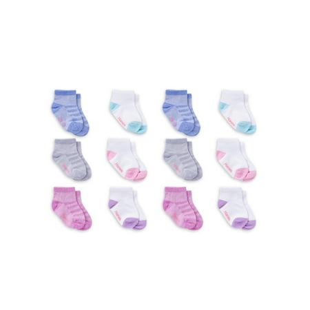 Hanes Infant Toddler Girls 12 Pack Bundle Our Softest Ankle Socks