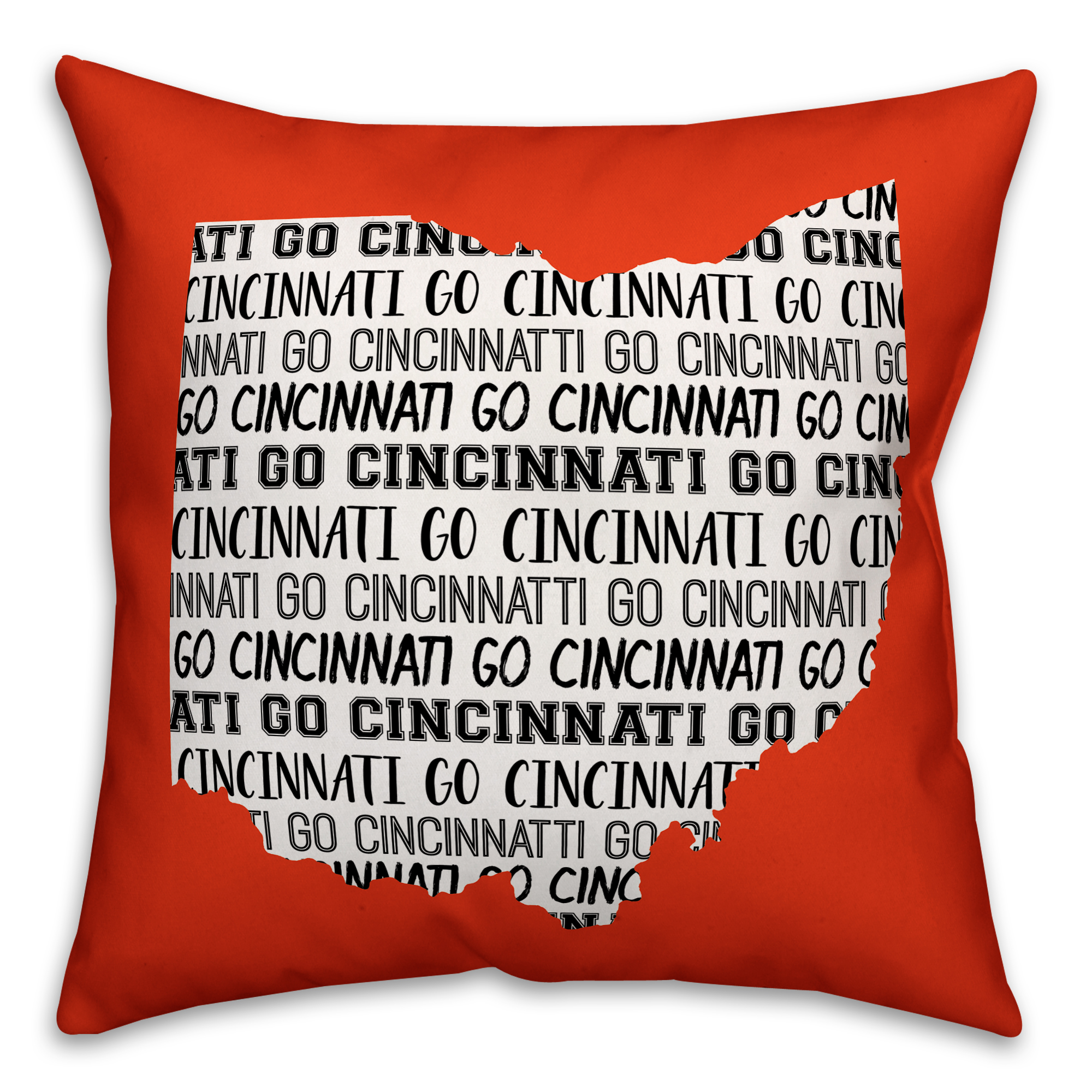 Orange Ohio Go Team 16x16 Spun Poly Pillow