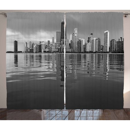 Chicago Skyline Curtains 2 Panels Set, Nostalgic Weathered Lake Michigan Harbor Coastal Town Urban Vintage, Window Drapes for Living Room Bedroom, 108W X 84L Inches, Black and White, by Ambesonne ()