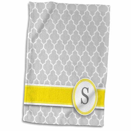 3dRose Your personal name initial letter S - monogrammed grey quatrefoil pattern - personalized yellow gray - Towel, 15 by