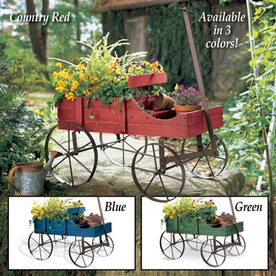Amish Wagon Decorative Indoor/Outdoor Garden Backyard Planter Green Gift Decor House