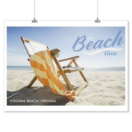 - Virginia Beach, Virginia - Folding Beach Chair - Lantern Press Photography (9x12 Art Print, Wall Decor Travel Poster)
