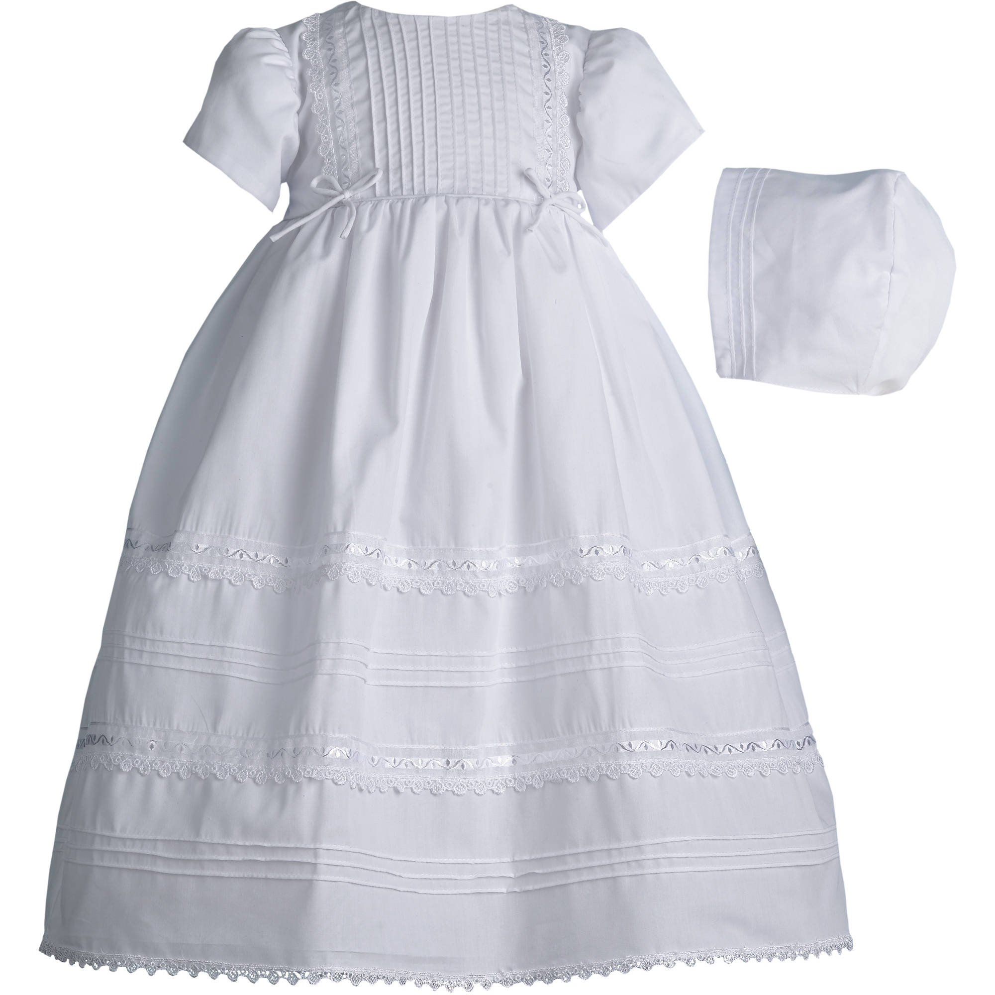 Christening Baptism Newborn Baby Girl Special Occasion Dress w/ Tucking