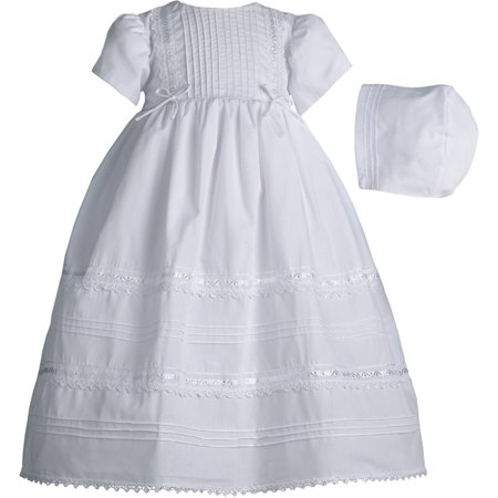 Christening Baptism Newborn Baby Girl Special Occasion Dress w/ Tucking