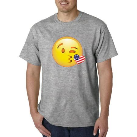 Image of Trendy USA 473 - Unisex T-Shirt Emoji Smiley Winking Kiss USA Heart Flag 4th July Large Heather Grey