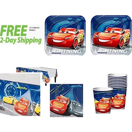 Disney Cars 3rd Birthday Party Supplies 16 Guest Kit - Car Birthday Supplies