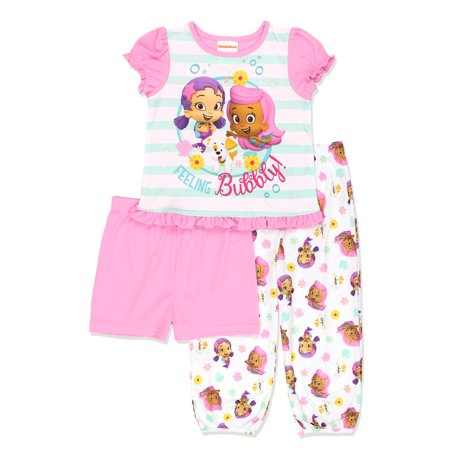 Bubble Guppies Toddler Girls 3 piece Pajamas Set - Gil Bubble Guppies