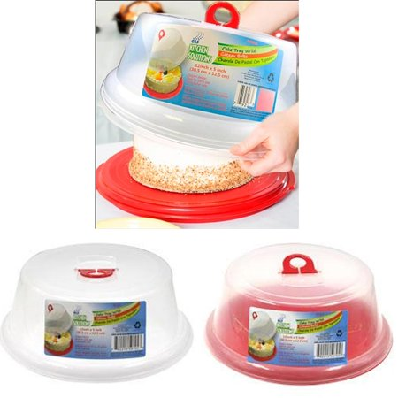 2 Sets Plastic Cake Tray Cover Pie Dessert Hold Lid Pastry Plate Stand Serving (Plastic Serving Plate)