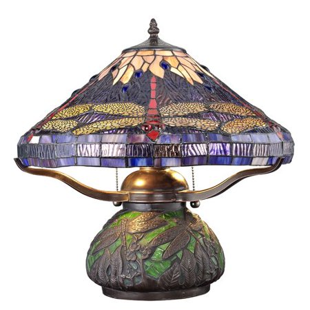 Serena d'italia Tiffany 2 light Purple Dragonfly 14 in. Bronze Table Lamp with Green Mosaic Base