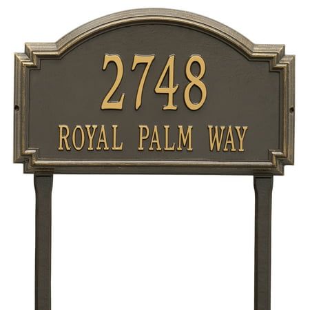 - Personalized Whitehall Products Williamsburg Two Line Lawn Plaque in Bronze/Gold