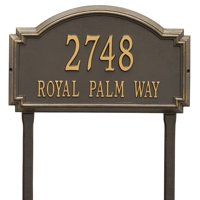 Personalized Whitehall Products Williamsburg Two Line Lawn Plaque in Bronze/Gold