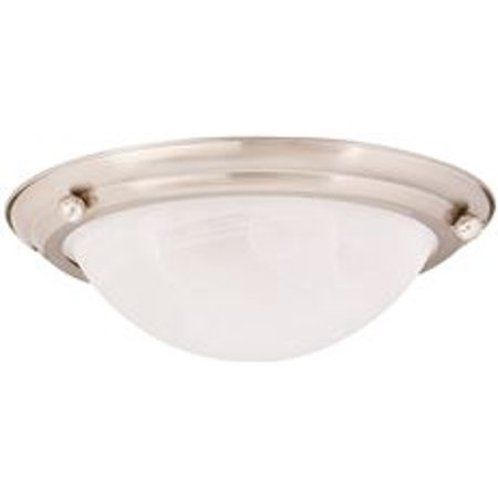 Monument Flush Mount Ceiling Fixture, Brushed Nickel, 15-1/2 X 4-3/4 In., Uses 2 75-Watt Incandescent Medium Base Lamps*