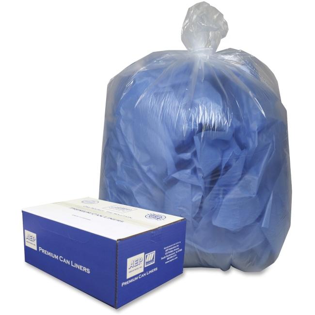 "Webster Commercial Can Liners - 40"" Width x 46"" Length x 9 mil (229 Micron) Thickness - Clear - Plastic - 100/Carton - C"