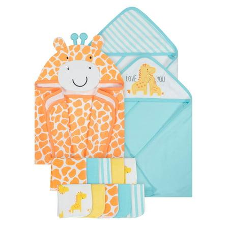 Gerber Baby Hooded Bath Wrap, Hooded Towels & Washcloth Set, 13pc ()