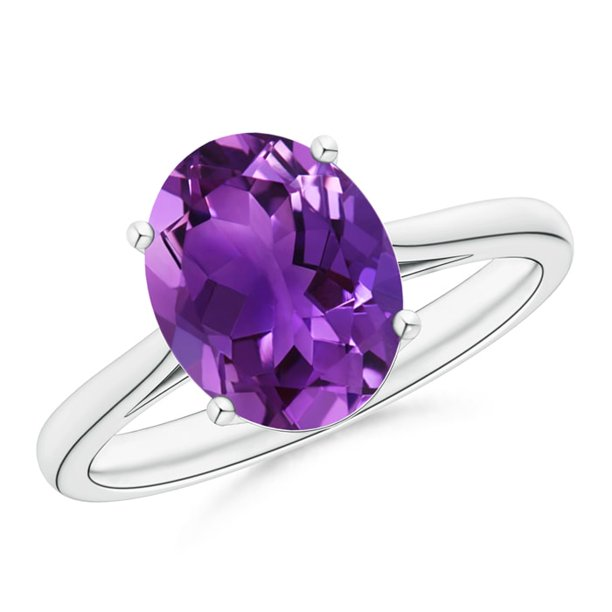 February Birthstone Ring - Oval Solitaire Amethyst Cocktail Ring in Platinum (10x8mm Amethyst) - SR1080AM-PT-AAAA-10x8-3