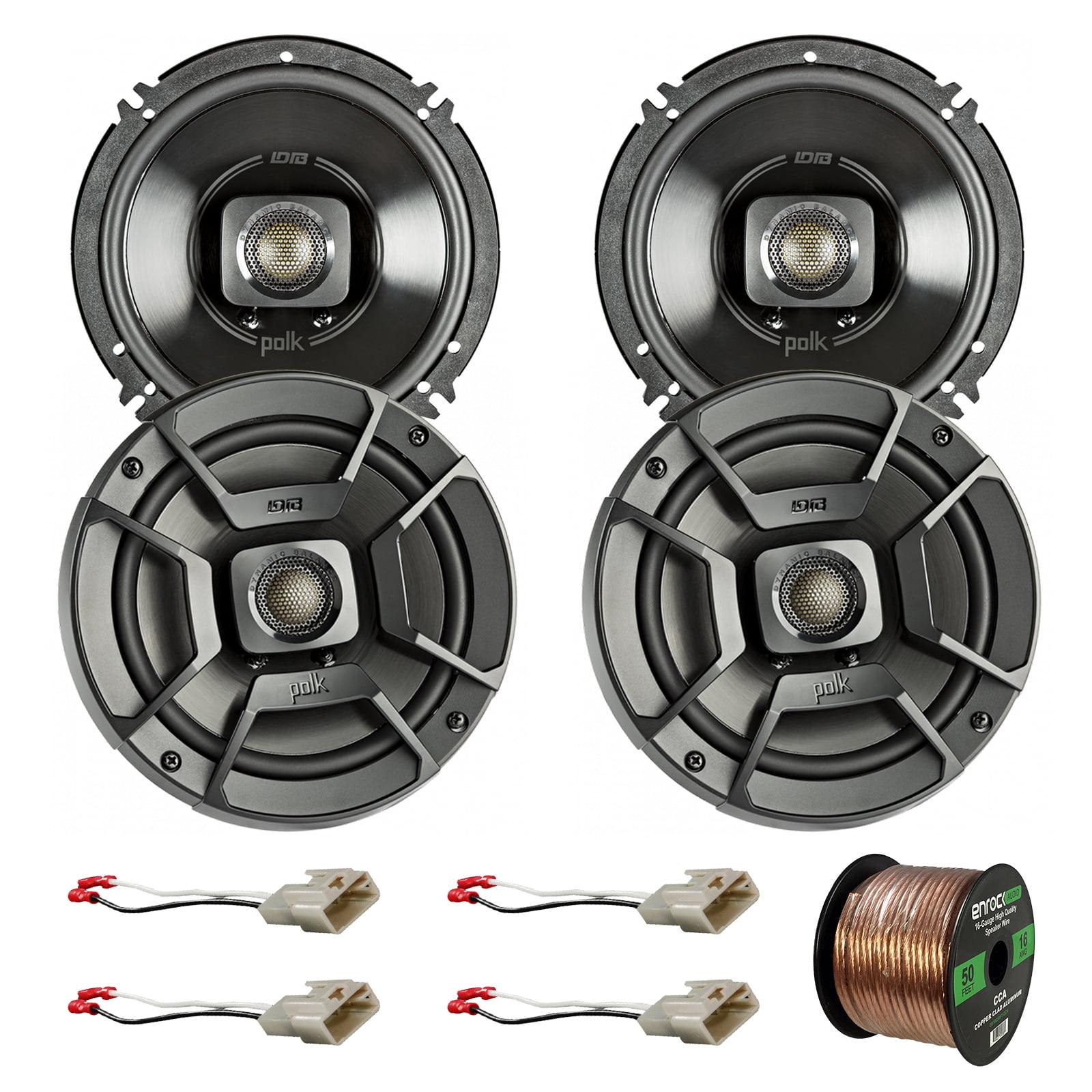 "4x Polk Audio 6.5"" 300W 2 Way Car/Marine ATV Stereo Coaxial Speakers DB652, 4x Metra 72-8104 Speaker Connector for Select Toyota Vehicles, Enrock Audio 16-Gauge 50 Foot Speaker Wire"
