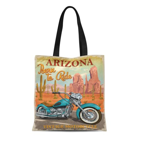 KDAGR Canvas Tote Bag Car Vintage Arizona Motorcycle Cactus Chopper Classic Moto Retro Durable Reusable Shopping Shoulder Grocery Bag